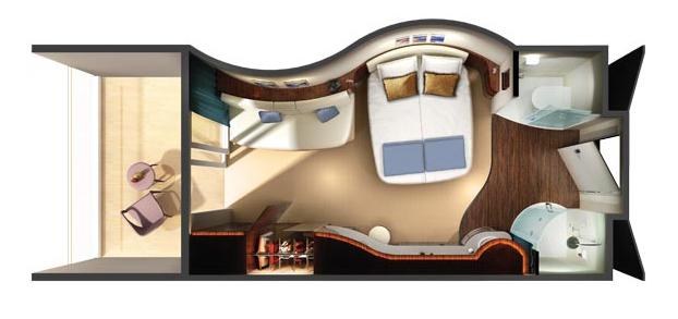 """Каюта с балконом """"Spa Balcony Stateroom"""""""