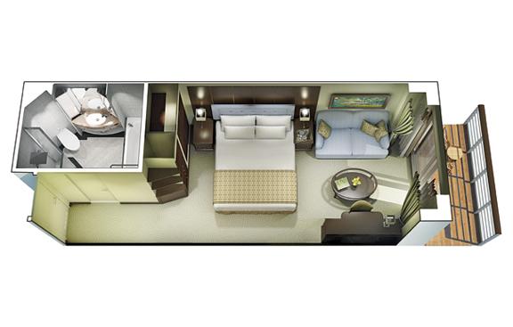 """Каюта с балконом """"Concierge Level Veranda Stateroom"""""""