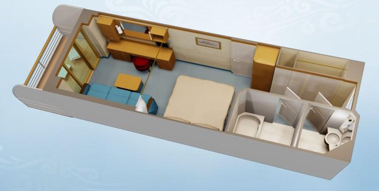 """Каюта с балконом """"Deluxe Oceanview Stateroom with Verandah"""""""