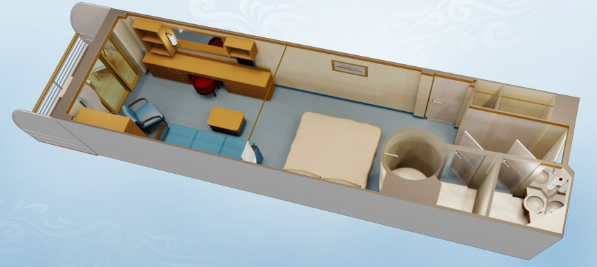 """Каюта с балконом """"Deluxe Family Oceanview Stateroom with Verandah"""""""