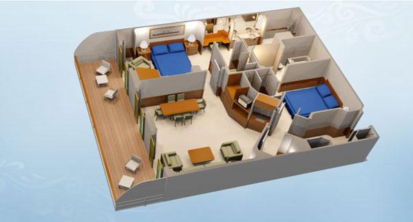 """Каюта с балконом """"Concierge 2-Bedroom Suite with Verandah"""""""