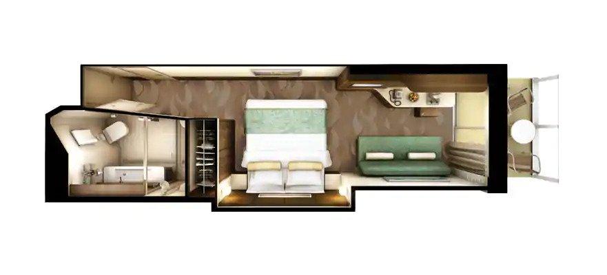 "Каюты с балконом ""Spa Balcony Stateroom"""