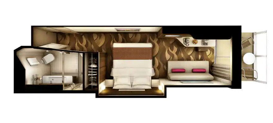 "Мини-сьют ""Aft-Facing Mini-Suite with Balcony"""